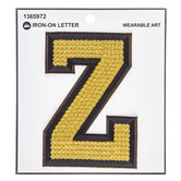 Gold Sequin Iron-On Letter Z - 4 3/4""